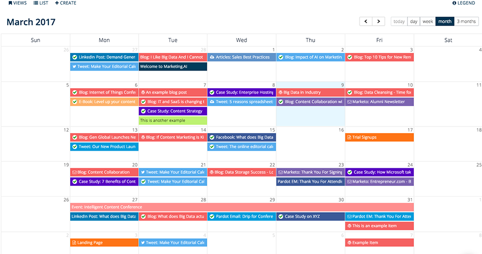 Calendario editoriale per content marketing