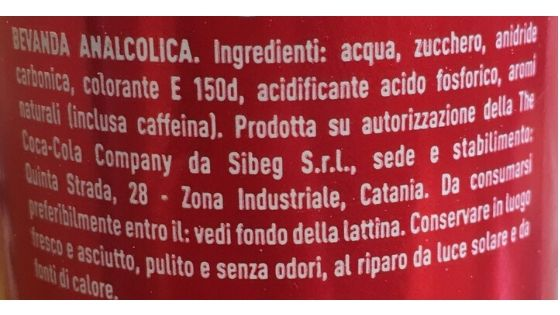 Etichetta ingredienti Coca cola
